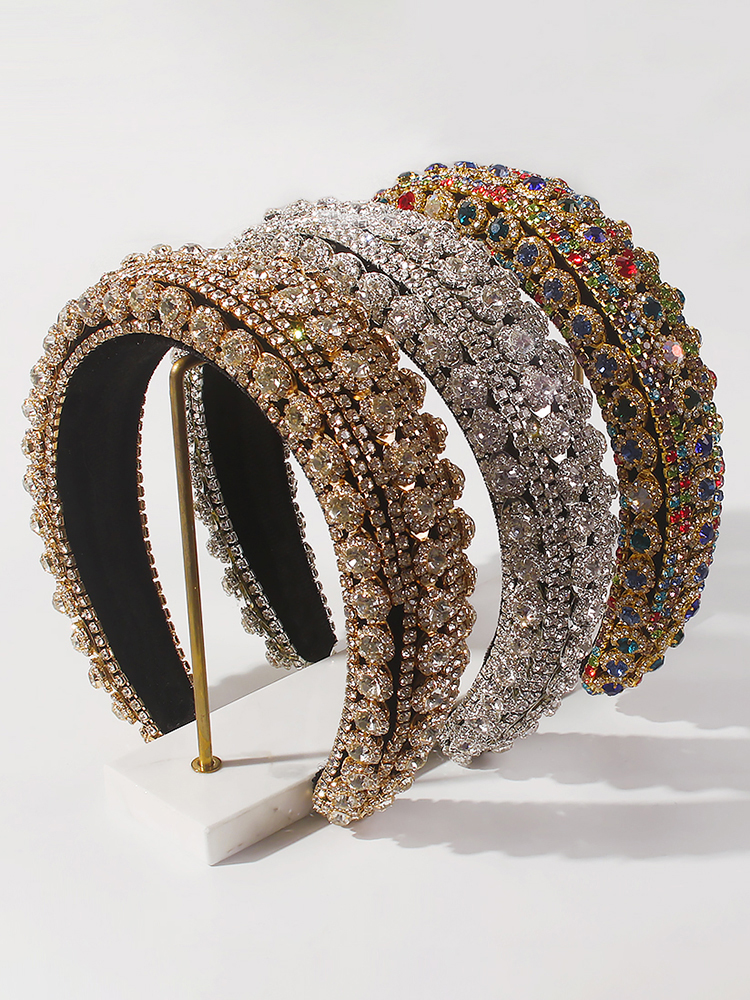 Rhinestone Headband Hair-Accessories Crystal Baroque Luxury Womens Full Padded Colorful