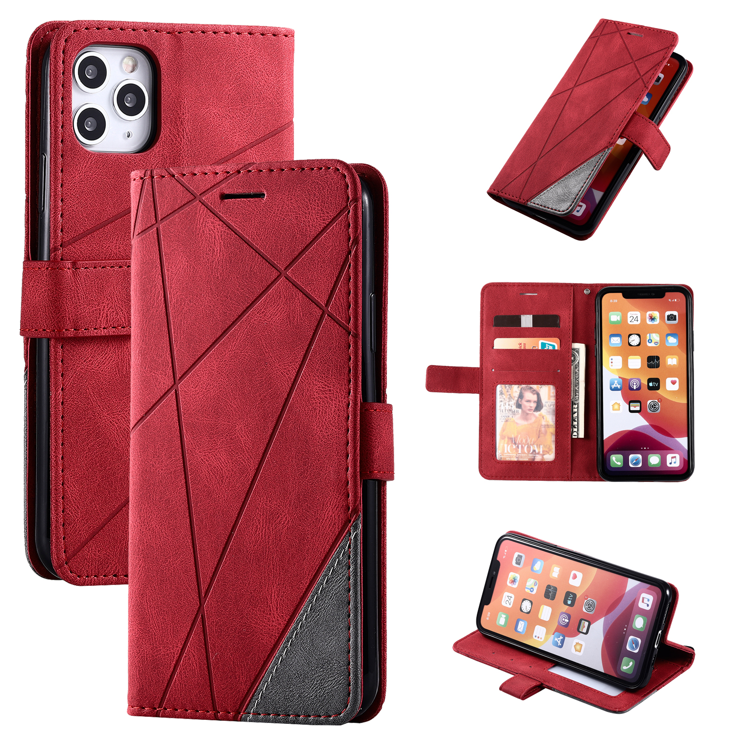 Stand Business Phone Holster For Etui Xiaomi 11 Poco X3 Nfc M3 Redmi Note 10 Pro 7 7A 8 8A 8T 9 Stripe Wallet Rhombus Case D21G