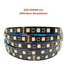 5050 2835 led strip 5 coiors in1 chip rgb + cct 12mm pcb cw + rgb + ww 4in1 rgbw/rgbww fiexibie fita iight 12/24v 60/90ieds/m