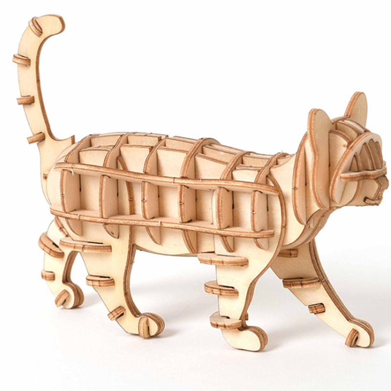 Laser Cutting DIY Animal Cat Toys 3D Wooden Puzzle Toy Assembly Model Wood Craft Kits Desk Decoration For Children Kid