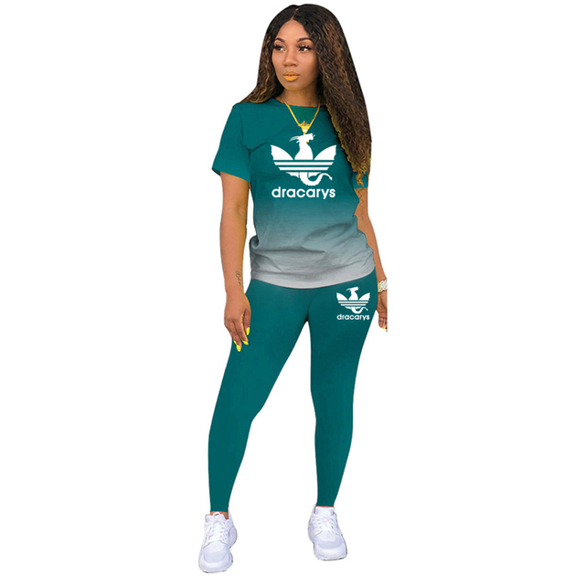 Tracksuits Women 2 Pieces Sets short Sleeve O-Neck Pullover Top Trousers Sportswear Sports Suit Female Clothes Spring 2021 New 4