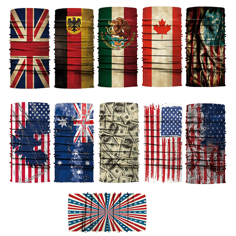 Mask Dust-proof Flag Digital Printed Multi Functional Seamless Quick Dry Sunshade Outdoor Sweatband Hairband Scarf Cycling Sport