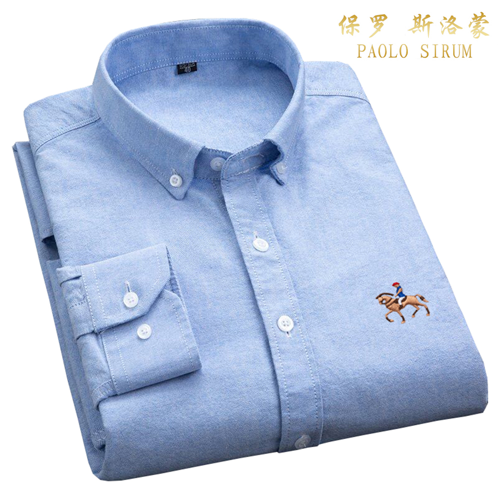 Casual Mens Oxford Dress Shirts Long Sleeve Thick Slim Fit Button Pure Cotton Embroidery Purple Shirt Fashion Desinger Blouse