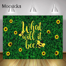 Newborn Bee Themed Gender Reveal Backdrop Baby Shower Party Background Decorations Wild Spring Grass Sunflowers Photocall Props
