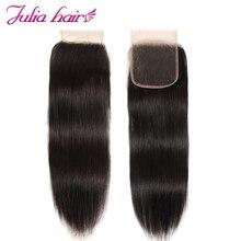 Ali Julia человеческие волосы перуанские прямые волосы Кружева Закрытие бесплатно/средний/три части натурального цвета 10-20 дюймов волосы для наращивания Remy