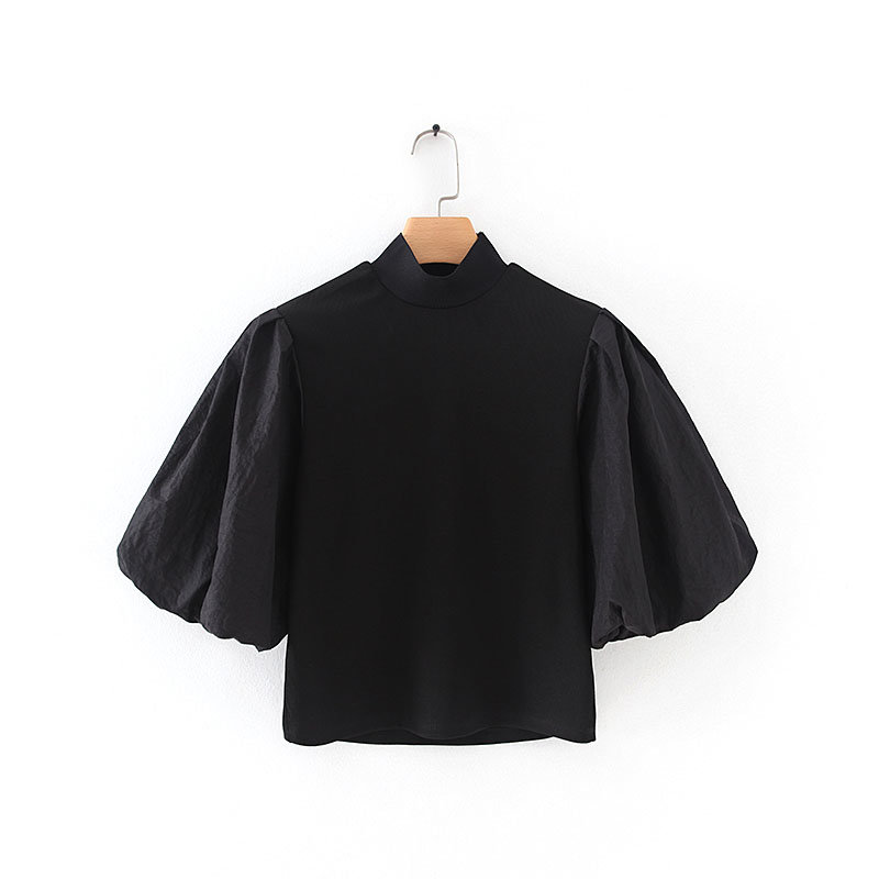 2020 New Women Vintage Stand Collar Lantern Sleeve Patchwork Knitting Blouses Shirts Women Chic Slim Femininas Brand Tops LS6114