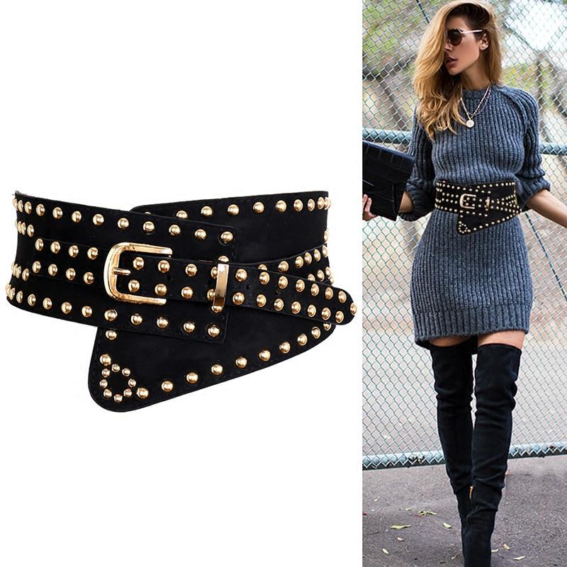 TOTRUST Women Waistband Cummerbunds Belt Rivet Wide Belts Elastic Retro Design Female Strap Slim Corset Belt Female For Dress