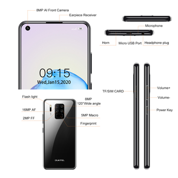 """4G LTE Android 9.0 Smartphone OUKITEL C18 Pro 4G RAM 64G ROM Mobile Phon 6.55""""HD  MTK6757 Octa Core 16MP 4 Cameras 4000mAh 5V2A 6"""