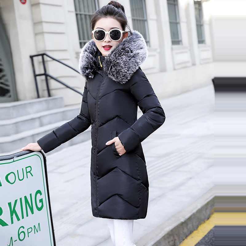 プラスサイズ S-6XL 女性冬コート偽毛皮の襟の女性パーカーロング上着ジャケット冬ジャケットの女性のコート新 2019