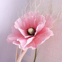цена на Artificial Linen Poppy Flower Head for Wedding Decoration Background Arch Road Lead Shopping Mall Window Display Poppies Flowers