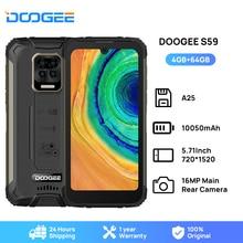 DOOGEE S59 Smart Rugged Phone 10050mAh Battery Mobile Smartphone 4GB+64GB Cellphone IP68/IP69K 2W Loud Volume Speaker Celular