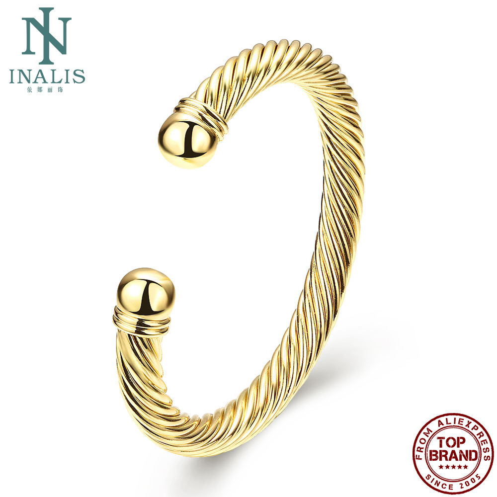 INALIS Bracelet Bangle For Women European And American Simple And Popular Open Gold Bangle Personality Fashion Jewelry Bracelet