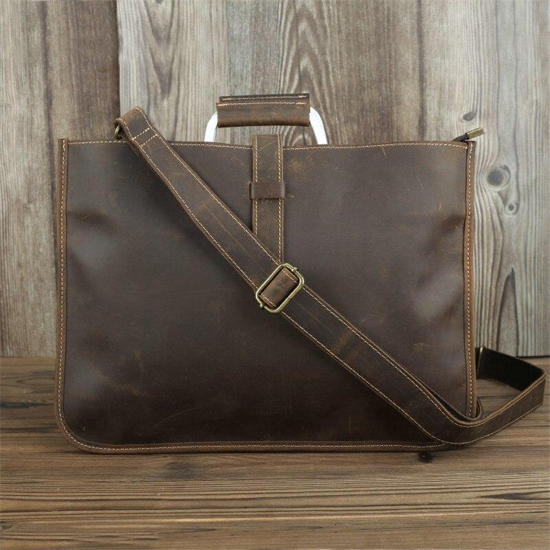 Nesitu High Quality Vintage Brown Black Genuine Leather A4 Office Men Briefcase Shoulder Messenger Bag Male Portfolio M1823