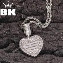 O bling rei redondo coração aberto pingente diy foto hip hop completo iced para fora zircônia cúbica goldplated cz pedra