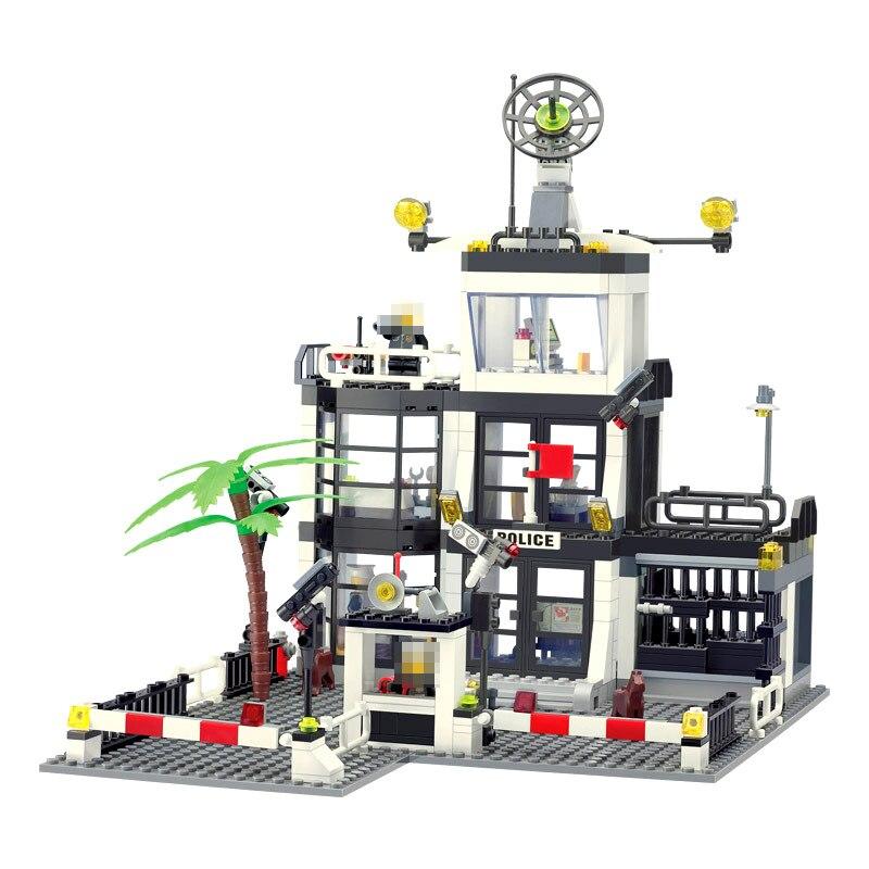 3D City Street Construction Bricks 6725 Building Block Police Stations Enlighten Kids Toys For Children Compatible Legoings City