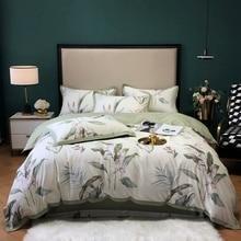Luxury European Style duvet cover Modern bed sheet sets Egyptian cotton leaf print bed set queen king size bed set  bedspread