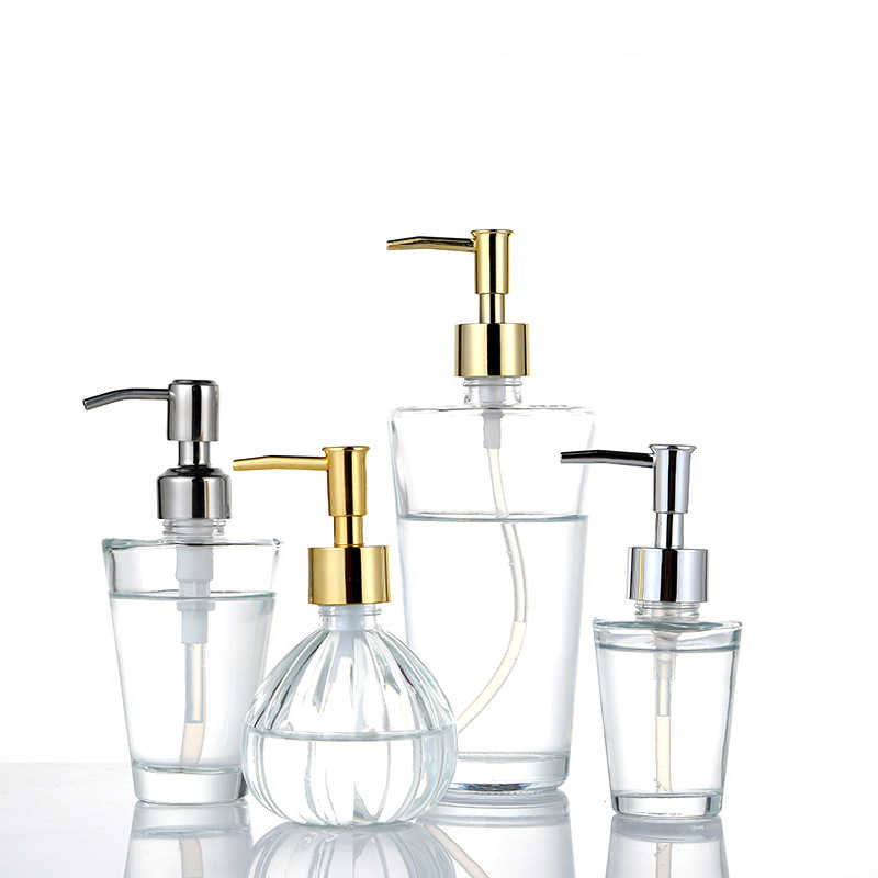 Klar Glas Seife Dispenser mit Seife Pumpe Gold Hand Flüssigkeit Seife Saver Hand Sanitizer Halter Glas Lotion Spender