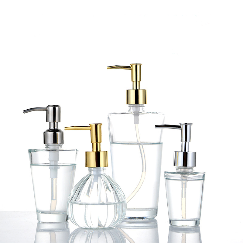 Clear Glass Soap Dispenser With Soap Pump Gold Hand Liquid Soap Saver  Hand Sanitizer Holder  Glass Lotion Dispenser