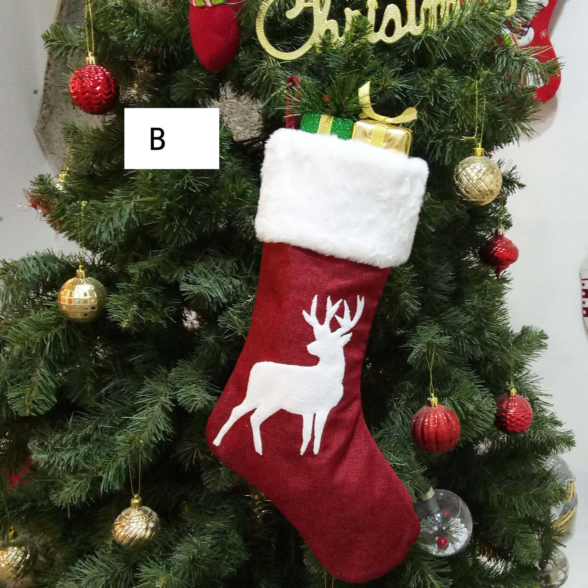Christmas Stockings Gifts Christmas Tree Decorations Socks Hanging Ornaments Children S Candy Bags Gifts Christmas Decorations H