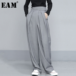 [EAM] High Waist Pleated Gray Brief Long Wide Leg Trousers New Loose Fit Pants Women Fashion Tide Spring Autumn 2021 1T735