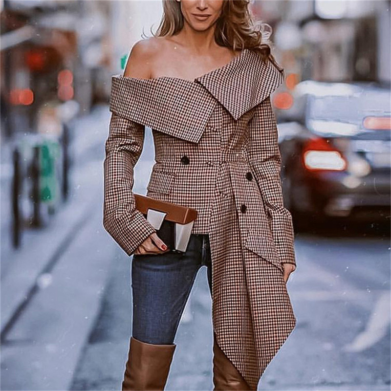 Hirigin Women Long Sleeve Off Shoulder Cape Lapel Blazers Coats OL Cool Loose Irregular Jacket Coat Autumn Plaid Printing Jacket
