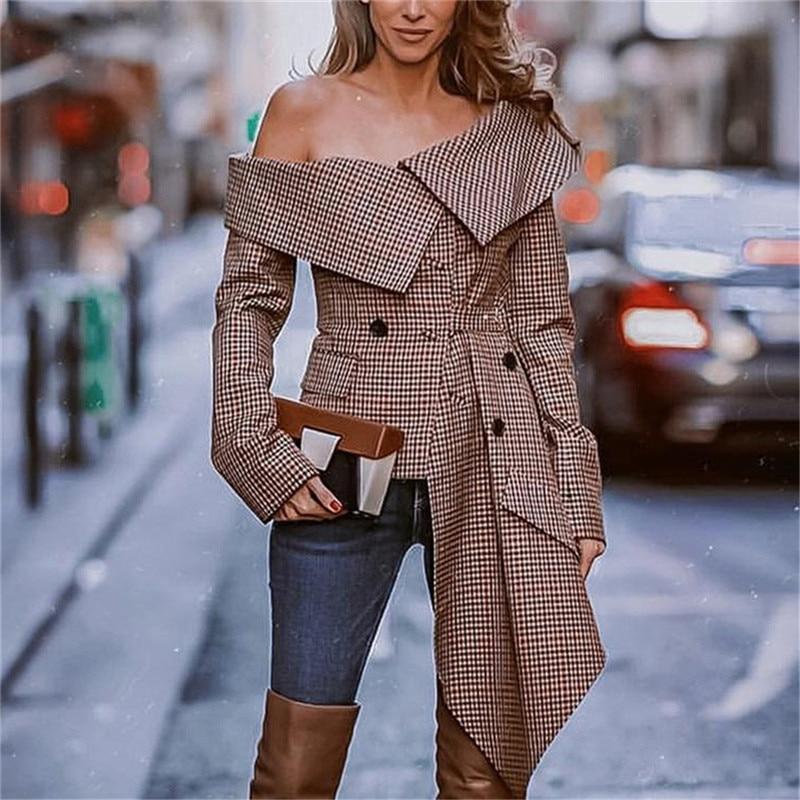 Hirigin Women Long Sleeve Off Shoulder Cape Lapel Blazers Coats OL Cool Loose Irregular Jacket Coat Autumn Plaid Printing Jacket