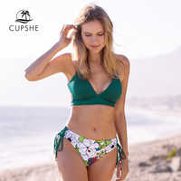 CUPSHE Sexy Green And Floral Lace-Up Bikini Sets Women Boho Two Pieces Swimsuits 2020 Girl Beach Bathing Suit Swimwear