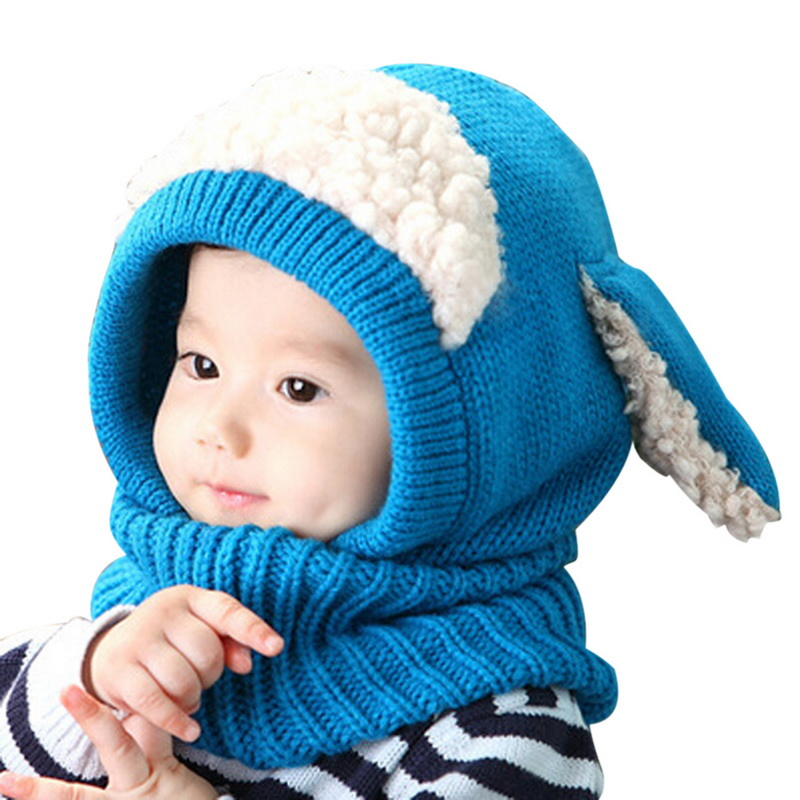 Sheep-Hat Woollen-Caps Winter Baby Beanie Earflap Warm Autumn Cute Knit Scarf Cotton title=