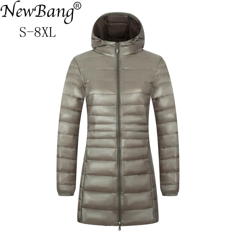 NewBang 6XL 7XL 8XL Women's Jacket Large Size Long Ultra Light Down Jacket Women Winter Warm Windproof Lieghtweight Down Coat