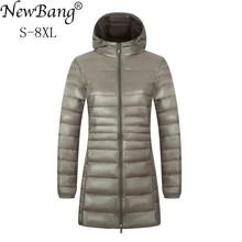 NewBang 6XL 7XL 8XL Женская куртка, большой размер, длинный ультра легкий пуховик, женская зимняя теплая ветрозащитная пуховая куртка