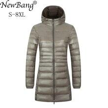 NewBang Chaqueta larga de invierno para mujer, Chaqueta larga a prueba de viento, cálida, ultraligera, 6XL, 7XL, 8XL