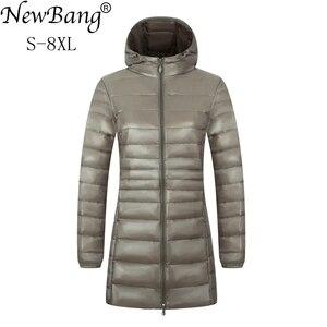 Image 1 - Newbang 6XL 7XL 8XL Vrouwen Jas Grote Omvang Lange Ultra Licht Donsjack Vrouwen Winter Warm Winddicht Lieghtweight Down jas