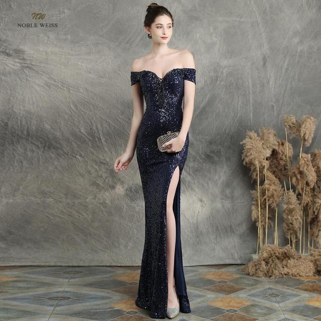prom dresses 2019 black mermaid elastic party dress sexy split vestidos de gala boat neck long prom gown 1