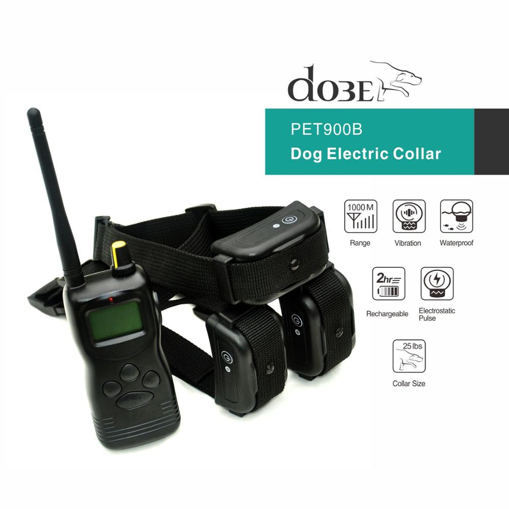 Rechargeable dog electric collar with remote waterproof pet collar training dogs 1000M remote bark control collar