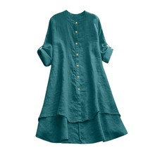 Women Vintage Cotton Linen Top Spring Plus Size Solid Plain Blouse Long Sleeve Long Shirts Casual Tunic Button Clothing Blusas