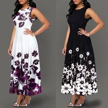 Verano Mujer moda vestido Vintage A-Line Floral estampado vestido túnica larga sin mangas estampado Floral elegante vestido
