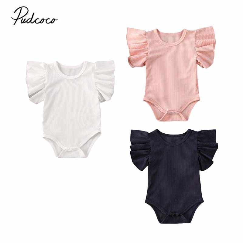 2020 Baby Summer Clothing Newborn Infant Baby Girl Cotton Jumpsuit Bodysuit Short Sleeve Clothes Set Solid Ribbed Sunsuit