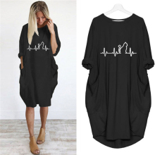 New Dress Girls Print Cat Pocket Loose Dress Vintage Summer Fall Maxi Clothes Woman Casual Dresses Party Women Dresses Plus Size tfgs 2016 new design design summer new women shirts dress cat footprints pattern show thin shirt dress casual dresses with belt