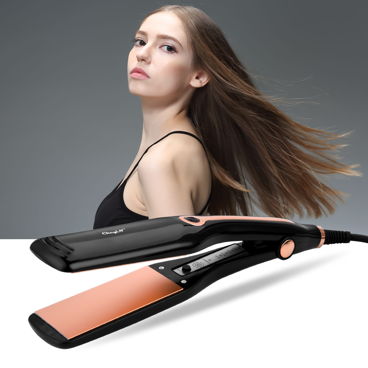 2 In 1 Wide Plate Hair Straightene Iron Curling Temperature Adjustment Ceramic  Straightening  Iron Hair Styling Tool