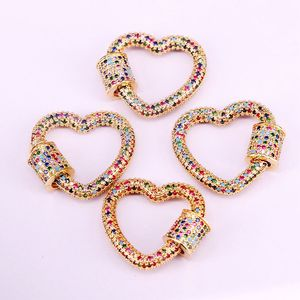 Image 3 - 3PCS, Gold Color Rainbow CZ Micro Pave Heart Clasps, DIY Jewelry Clasps, Lock Carabiner, For Jewelry Making