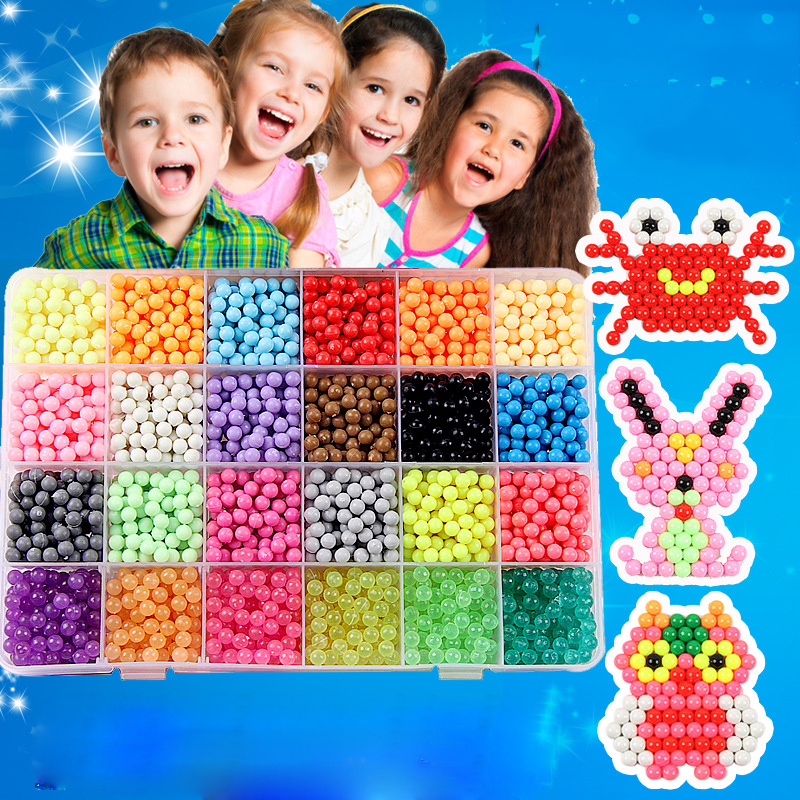 Children Beads Crafts for Kids 5200pcs DIY Beads Crystal Creative Material Kids Beads Water Spray Magic Puzzle Toys for Children(China)