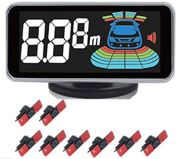 Automobile LED Monitor Electromagnetic Parking Sensor 8 auto Parktronic Voice Buzzer alarm Reversing Radar Car Detector