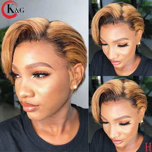 KUNGANG Pixie Cut Wig 13*4 Bob Lace Front Human Hair Wigs Middle Ratio lace wig 150% 180% Density Non-Remy Hair(China)