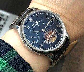 Сапфировое стекло 43 мм PARNIS черный циферблат запасной мощности автоматический самовсасывающий механический механизм мужские часы кожаный ...