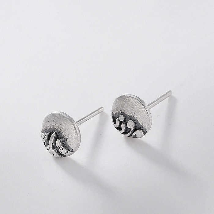 أقراط للسيدات من BALMORA موديل 100% رائعة من الفضة الإسترليني عيار 925 أقراط على شكل بحر جبلي عتيق للسيدات مجوهرات رومانسية بسيطة هدايا على الموضة