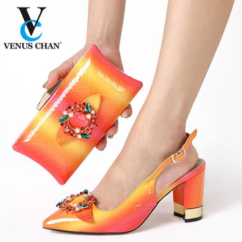2020 New Design Orange Color Nigerian Women Shoes and Bag to Match Italian Style Matching Shoes and Bag Set for Party