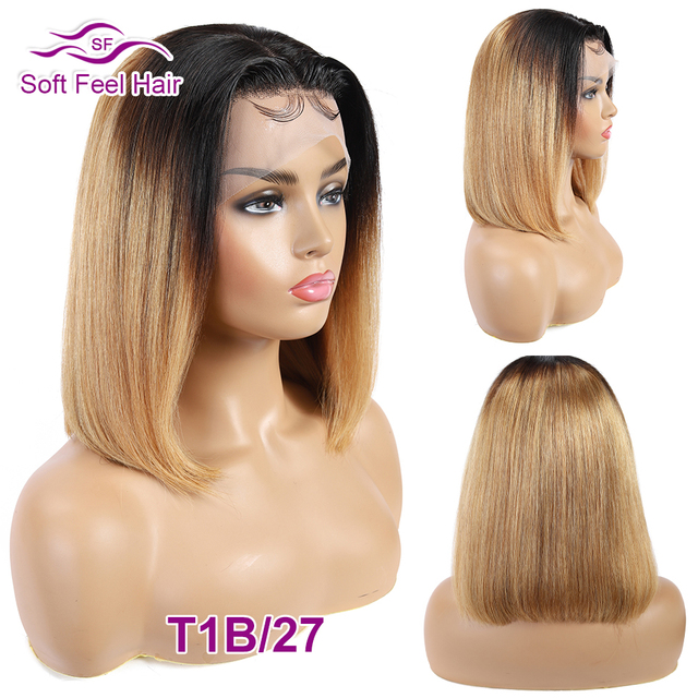 Pelucas de cabello humano con frente de encaje Ombre para mujeres negras pelucas de Bob corto recta 13x4 peluca brasileña rubia Borgoña 99J cabello Tacto suave