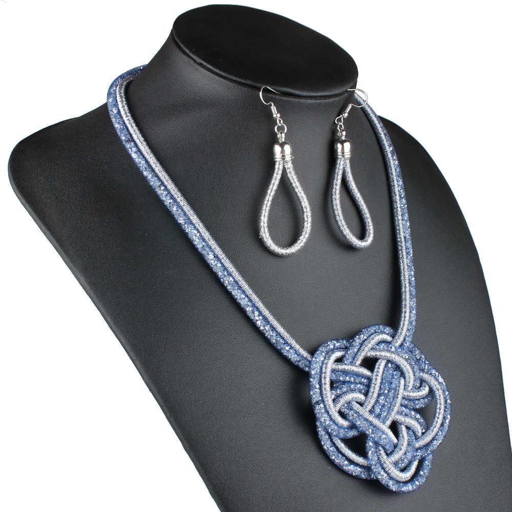 Collar y pendientes trenzados con nudo chino de Clarion Jin, conjunto de joyas de cristal para mujer, Gargantilla tejida a mano, accesorios de moda, regalos