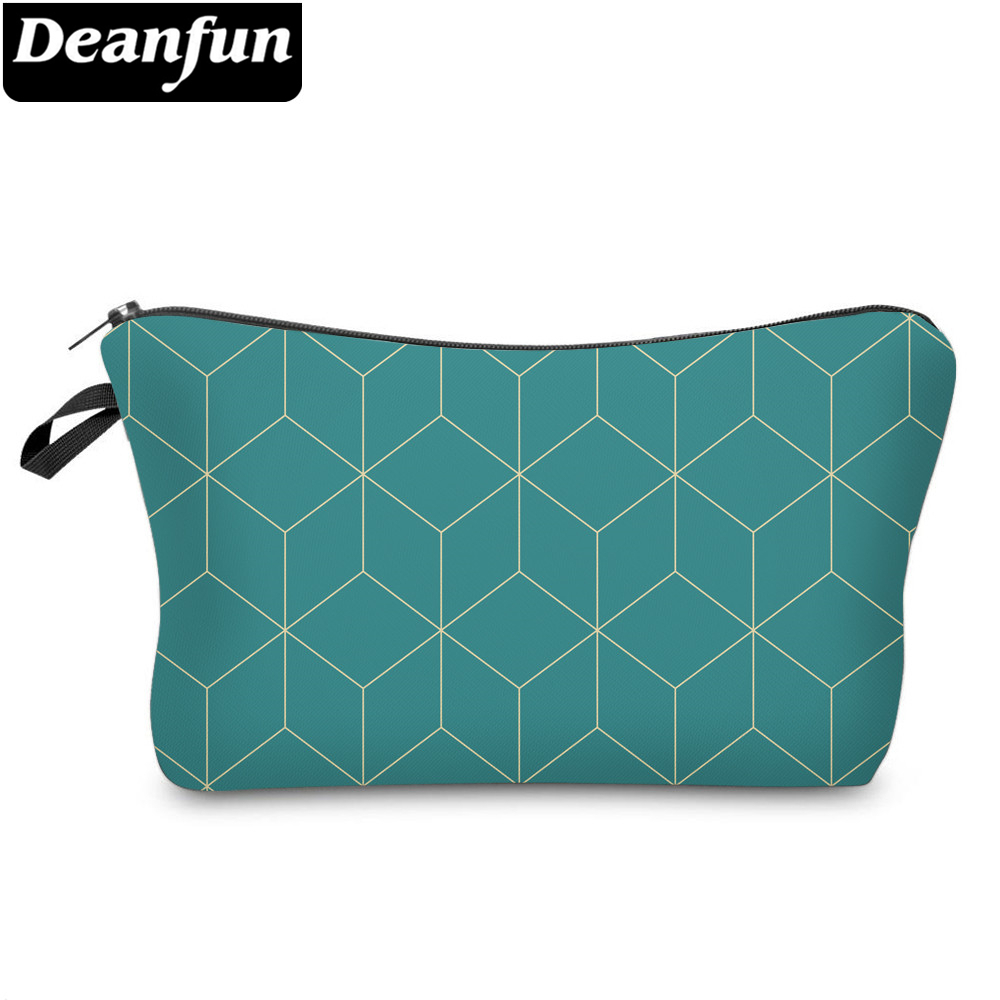 Deanfun Small Cosmetic Bags 3D Printed Blue Striped Bags Funny Designed Makeup Bag For Women And Girls 51963