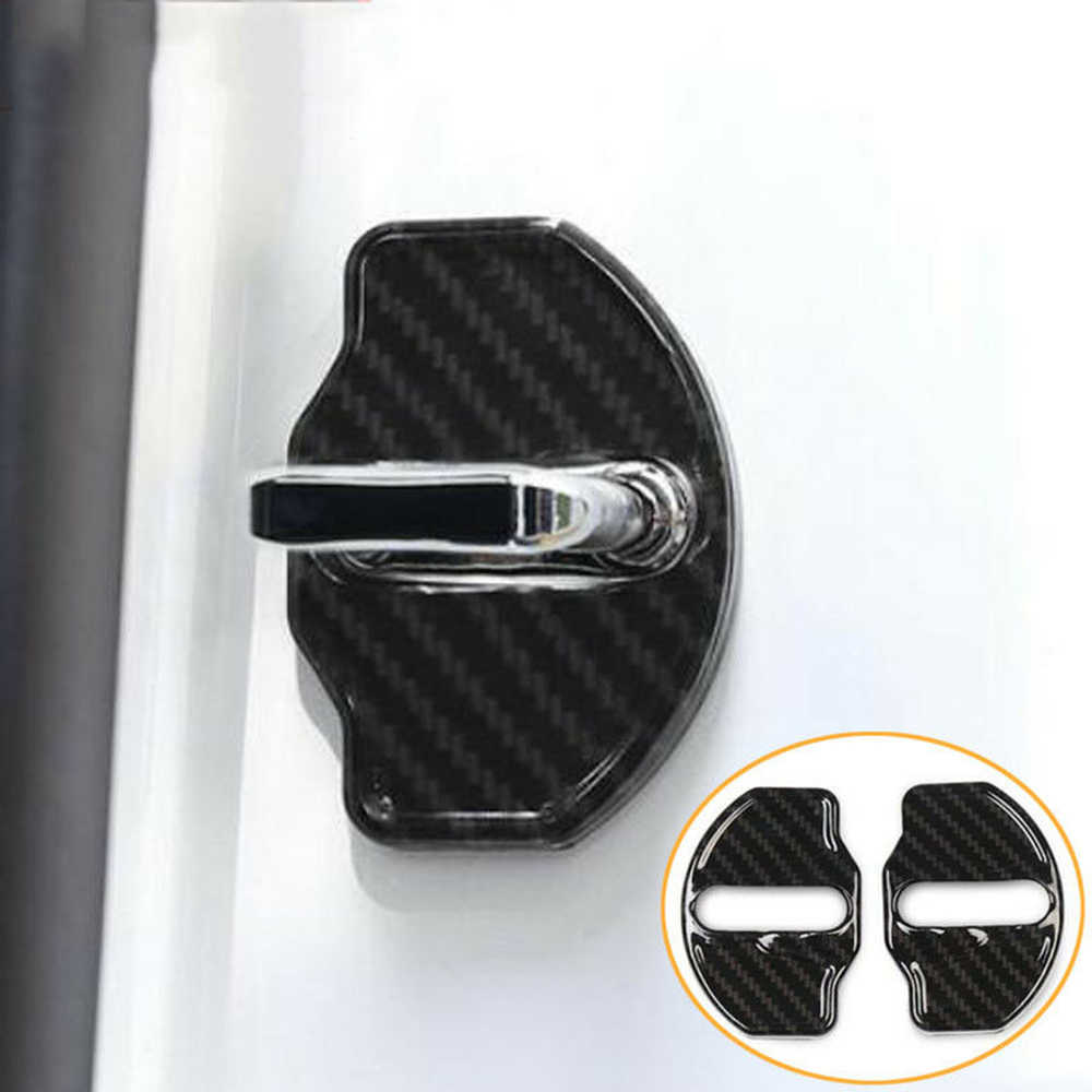 4Pcs Dustproof Cap Stainless Steel Door Lock Latches Cover Car Door Lock Buckle Protector Cover for Tesla Model 3 Auto Parts